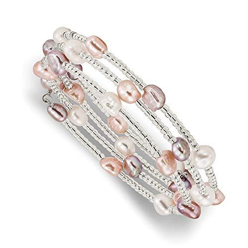 6 7mm multicolor barroco agua dulce cultivada perlas y perlas de acrílico envolver pulsera joyería regalos para mujeres