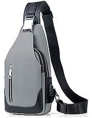FANDARE Sling Bag Mannen Borstpak, Crossbody Tas met USB One Strap Rugzak Messenger Bag, Crossbody Tas voor Reizen Fietsen Camping Wandelen Waterdicht Polyester