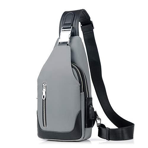 FANDARE Nuovo Monospalla Uomo Zaino Monospalla Borsello da Uomo con USB Borsa a Tracolla Borsa Sportiva Sling Bag,Treeking/Ciclismo/Viggio Grigio B