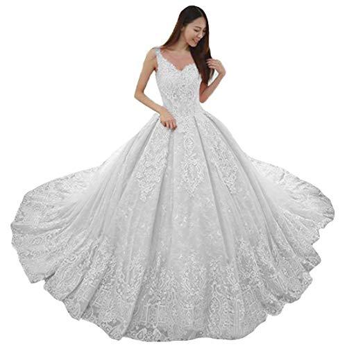 P.L.X Damen Spitze A-Linie Lange Vintage Hochzeitskleider Boho Rustikale Brautkleider