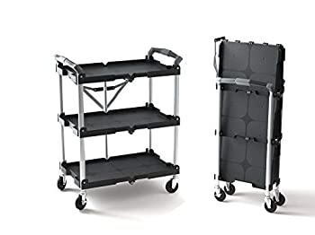 Olympia Tools 85-188 Pack-N-Roll Folding Collapsible Service Cart Black 50 Lb Load Capacity per Shelf