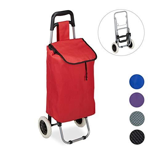 Relaxdays Einkaufstrolley, klappbar, 25 L Einkaufstasche mit Rollen, bis 10 kg belastbar, HBT: 91 x 40 x 30 cm, rot