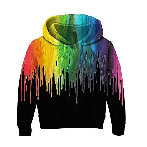 Belovecol Jungs Hoodies Pullover Crop Top 3D Graffiti Sweat Herbst Winter mit Langen Ärmeln Kinder mit Kapuze Thin Pile Pockets Hoodie für Kind 9-10T