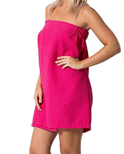 Consumable Depot Damen Body, 100% türkische Baumwolle, Waffelmuster mit verstellbarem Verschluss Women Cotton Waffle Wrap hot pink