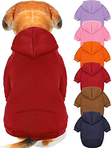6 Pieces Dog Hoodie Dog Clothes Sweaters with Hat, Pet Winter Clothes Warm Hoodies Coat Sweater for Small Dogs Chihuahua (XXS)