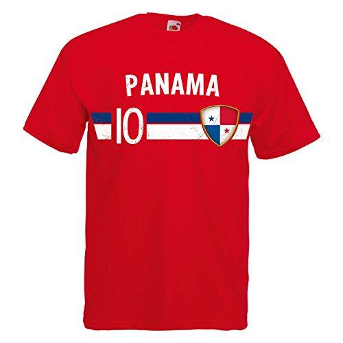 Fußball WM T-Shirt Fan Artikel Nummer 10 - Weltmeisterschaft 2018 - Länder Trikot Jersey Herren Damen Kinder Panama 3XL