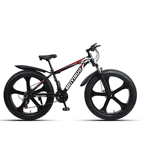 WLWLEO Bicicleta de montaña de 26 Pulgadas para Adolescentes Adultos,Bicicleta de montaña de Cola Dura,Marco de Acero al Carbono,Freno de Disco,Bicicleta Todoterreno Fat Tire Beach Snow,D,24 Speed