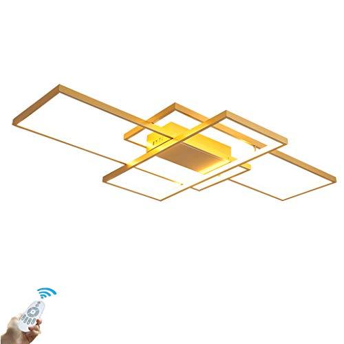 LED Deckenleuchte Dimmbar Modern Goldene Rechteck Deckenlampe Wohnzimmer Schlafzimmer Küche Büro Metall Acryl Lampe,3000K-6500K Lichtfarbe Und Helligkeit Einstellbar Mit Fernbedienung,90*50*8cm/72W