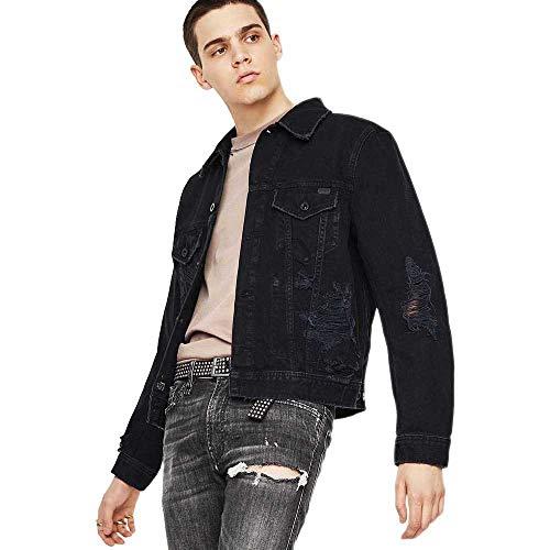 Diesel Jacke Jeans Schwarz mit Reißverschlüssen, Schwarz Medium