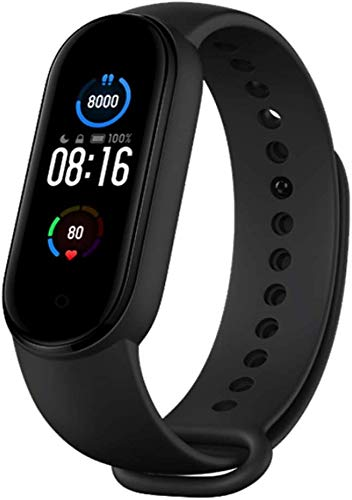 Xiaomi Mi Band 5 Smart Bracelet Activity Tracker and Fitness Tracker with 1,1 '' AMOLED Color Screen, Magnetic Type Charge, 50m Waterproof Pedometer and Messaging Notifications