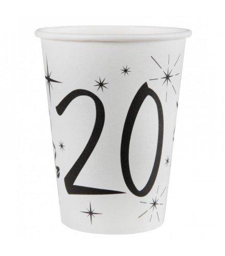 Dragée d'amour 10 gobelets en Carton Anniversaire avec âge (Blanc 20 Ans)