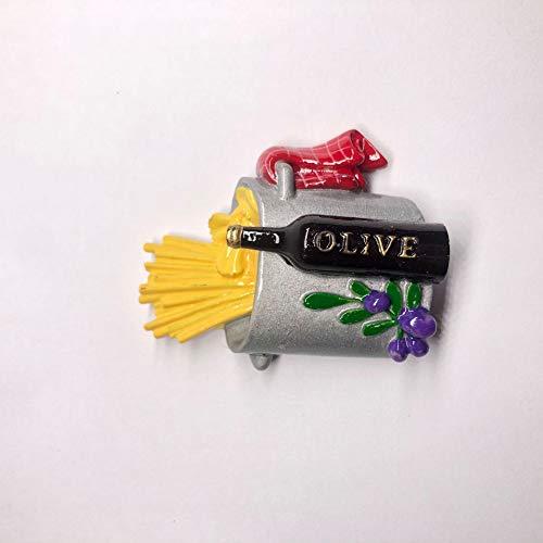 Guiping Imán para decoración de nevera, diseño creativo de postre, tubo de resina 3D, para nevera, pasta, mensaje (color: comida H)