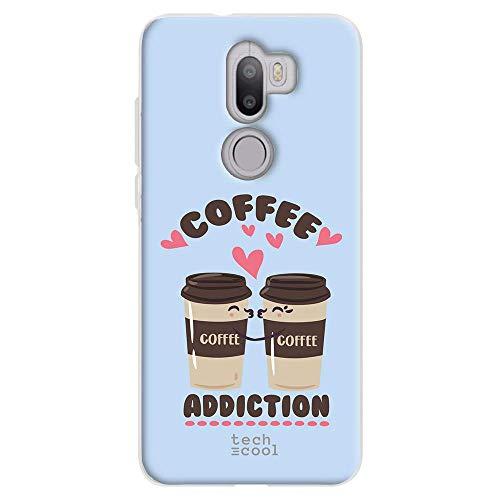 Funnytech® Siliconen Hoes voor Xiaomi Mi5S Plus l Hoes, cover [High-Definition Printing] [Heldere Kleuren] Frase Koffie verslaving azul