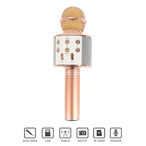 Stybits Handheld Wireless Microphone Mic With Audio Bluetooth Speaker & Karaoke Feature For All Tablets PCs iOS Android Smartphones (Random Color)