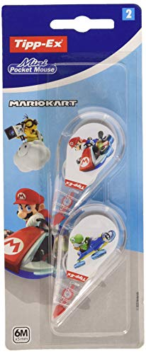 Tipp-Ex Mario Kart Mini Pocket Mouse Korrekturband 6 m x 5 mm – verschiedene Dekors in Blisterverpackung, 2 Stück