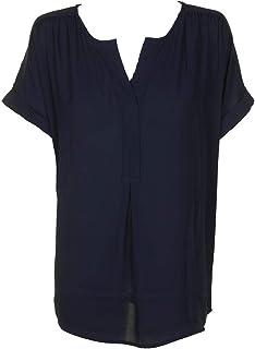 بلوزة من ستايل آند كو Inyrepid زرقاء بأكمام قصيرة ورقبة مقسومة مقاس XL