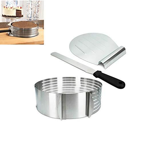 Hezhu Tortenboden-Schneidhilfe Edelstahl Kuchen Boden Tortenheber Messer Tortenring, für Flammkuchen, Brot, Quiches und Kuchen Menge: 1 x 3er