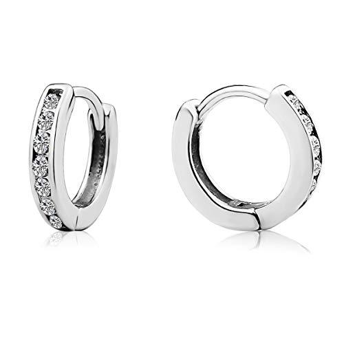 13mm 925 Sterling Silver Cubic Zircone Hinged Hoop Earrings Huggie For Women