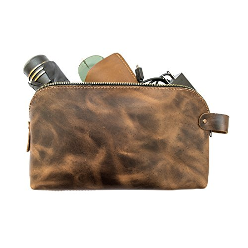 Large Rustic Leather All Purpose Dopp Kit Utility Bag (Cords, Chargers, Tools, School/Office Supplies) Handmade by Hide & Drink :: Bourbon Brown