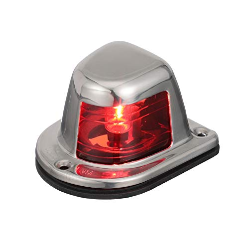 Attwood 66319R7 Red Incandescent Sidelight — Deck Mount, 1-Mile and 112.5-Degree Light Visibility, Stainless Steel Housing, Silver, One Size