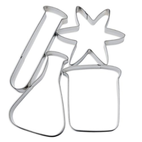 ComputerGear Science Cookie Cutters Chemistry Set, 4 Piece Stainless Steel- Includes Test Tube, Atom, Beaker, Flask