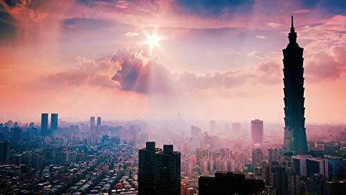 OKOUNOKO 1000 Piezas Puzzles 3D, Arquitectura De Taipei, Paisaje Moderno, Cielo, Personalizado De Madera Montaje Rompecabezas Divertido, 75X50Cm