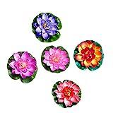 Tomaibaby 5 Piezas de Flores de Loto Flotantes Artificiales con Almohadilla de Lirio de Agua Simulación de Estanque Flotante Lotus Ornamentos para El Follaje del Jardín de Casa Estanque