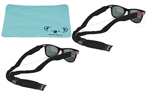 Koala Lifestyle Croakies Cotton Suiters Eyewear Retainer Sunglass Strap | XL Large End | Adjustable Eyeglass & Sports Glasses Holder Keeper Lanyard | 2pk Bundle + Cloth, Black