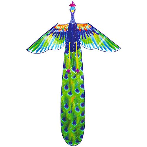 JNTM La Enorme Kite De Pavo Real Una Cometa De Una Sola Línea con Una Cola Larga para Niños Y Adultos Es Fácil De Volar Juguetes De Playa
