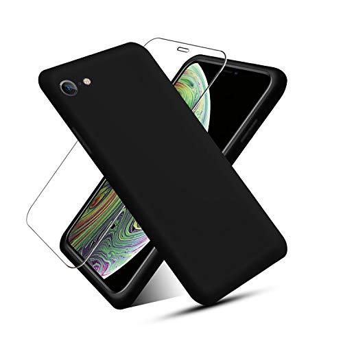 NUDGE Funda para iPhone 6/6s (4.7')+[Vidrio Templado HD ], Funda Silicona Líquida, Carcasa a Prueba de Golpes con Forro de Microfibra -Negro