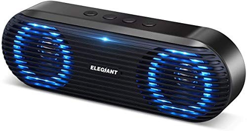 ELEGIANT Bluetooth Speaker, Portable Bluetooth 5.0 Speaker Wireless Sound Box 10W Music Box Boom Box with Stereo Sound bass Supports Hands-Free Calling TF Card USB Stick for Indoor (Renewed)