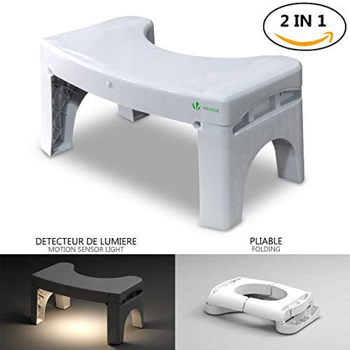 Squatting Potty Taburete de inodoro en cuclillas con luz de sensor de movimiento Taburete de baño con luz nocturna activada por movimiento Postura correcta del inodoro para resultados más saludables