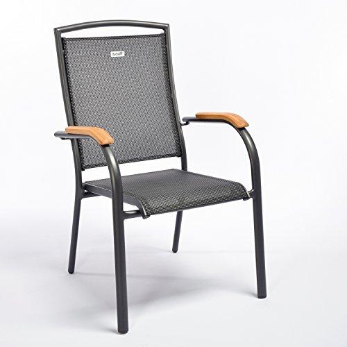 HARTMAN Stapelsessel Raffaelo, Gartensessel in anthrazit, Garten-Stuhl aus Aluminium Alu, Stapelstuhl mit Textilene-Bezug, FSC-Teak-Armlehnen