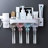 Soporte de Pared Para Cepillo de Dientes Tenedor multifuncional de cepillo de dientes montado en la pared Dispensador automático de pasta de dientes con 4 tazas y estante de secador de pelo Juego De L