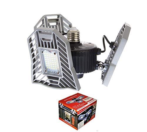LED Garage Light - Aluminum - 6000 LM - Ultra Bright 400W Equiv - 60W Garage Light LED -Triple Glow LED - Deformable LED Garage Lights - Fits E26/27 Base - Light For Garage Ceiling - My Workshop Genie