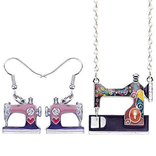Collar Aleación de la máquina de Coser los Pendientes Pendientes de la Manera del Collar Juego de Herramientas for joyería for Las Mujeres Regalo de la Muchacha Bijoux Nueva Collares de Mujer Hyococ