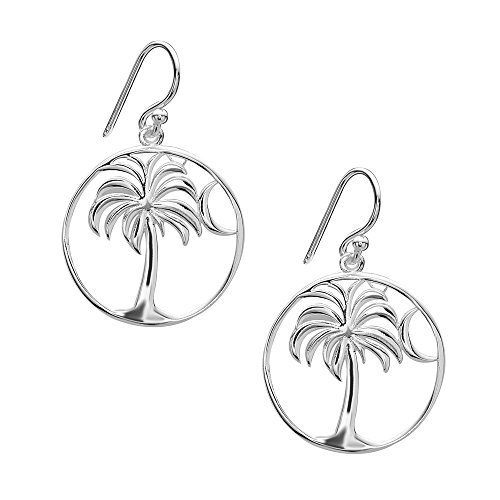 925 Solid Sterling Silver Dangling Palm Tree with Moon Drop Earrings - Dangle Allergy Free Jewelry