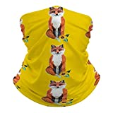 SOLVE GROCERY Cute Fox on Yellow with Sunflower Rave Face Mask Headband Bandana Mouth Cover Hair Ties Neck Scarf for Men and Women
