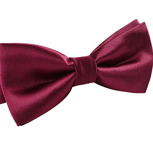 Corbata de lazo de color sólido para niños pequeños Pre-Tied y pajarita ajustable para niños pequeños (vino tinto)