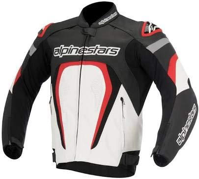 Alpinestars GP Plus LEATHER JACKET MOTORBIKE/MOTORCYCLE BLACK/WHITE/RED Replica (3XL = EURO 58 / 2XL = USA 48)