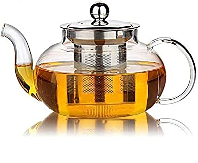 34oz Clear teapot with Loose Leaf Tea Filter Spout, Stovetop Safe Kettle, Glass Tea Kettle with Handle for Blooming tea Leaf. Glass Teapot with Infuser for Fruit Tea (1000ML)