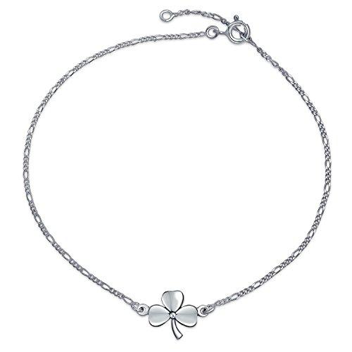 3 Leaf Clover Shamrock Flower Anklet Lucky Charm Anklet Link Ankle Bracelet For Women Sterling Silver 9 To 10 In
