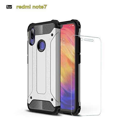 DESCHE para Funda Xiaomi Redmi Note 7 Pro, Hard PC Soft TPU 2 en 1 360 Armadura Protectora Funda Resistente a los arañazos a Prueba de Golpes Funda Duradera para teléfono + Vidrio Templado -Plata