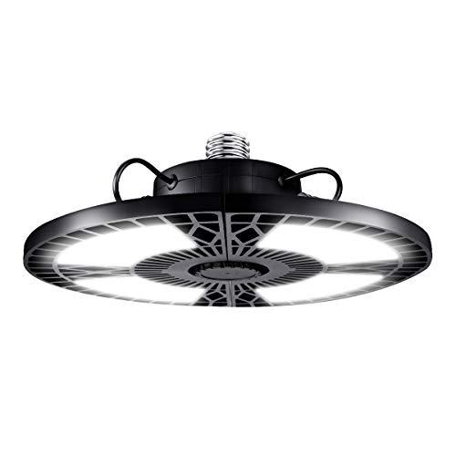 Rottogoon LED Garage Lights, 60W Deformable LED Garage Ceiling Lights 6000LM 6500K with 4 Adjustable Panels E26/E27 for Garage, Basement, Warehouse, Workshop, Shop, Barn