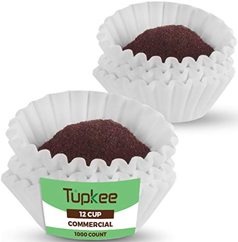 Tupkee Commercial Large 12-Cup Coffee Filters - 1000-Count, Coffee Filters, Chlorine Free, White - Compatible with Wilbur Curtis, Bloomfield, Bunn Coffee Maker Filters - Made in the USA
