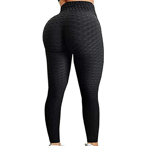 Hozora Anti-Cellulite-Kompressionsgamaschen, dehnbare Gymnastik-Hosen mit hoher Taille für Frauen Bauchkontrolle Workout geraffte Hinternheben (S)
