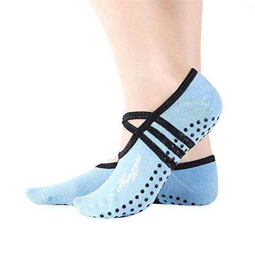 Delan - Calcetines de ballet para mujer, antideslizantes, ideales para pilates Pure Barre Ballet Dance (1 par), azul