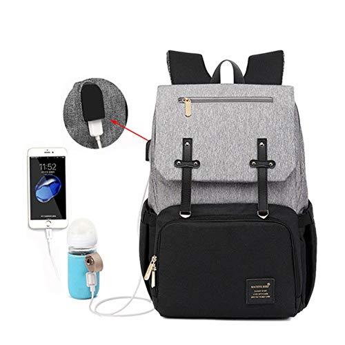 Mode baby luiertas rugzak met USB grote luiertas moederschap voor mama papa waterdichte laptop rugzak verzorgingstassen, zwart grijs