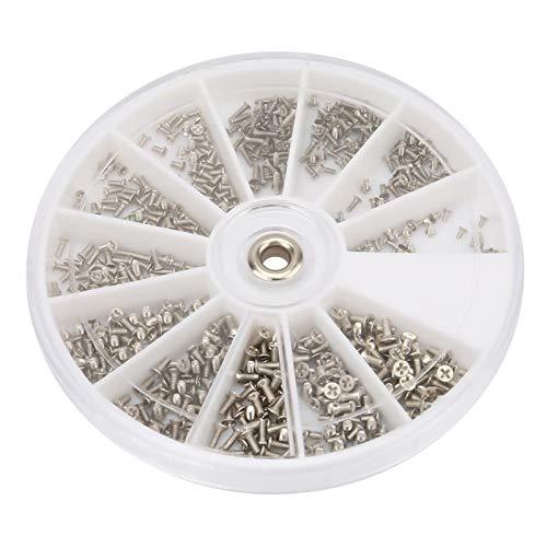 Tornillo cruzado, tornillo de cabeza plana, 600 piezas Caja redonda M1.0 M1.2 M1.4 M1.6 Juego de tornillos cruzados de cabeza plana de acero inoxidable para anteojos