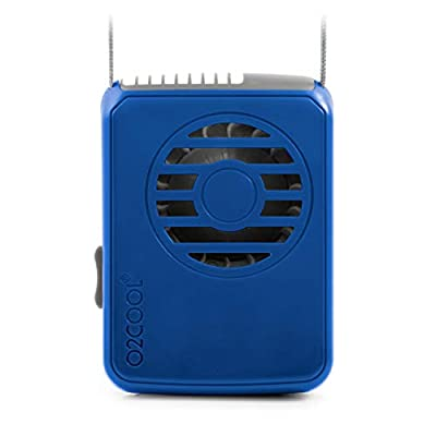 O2COOL Deluxe Blue Battery Powered Necklace Fan, Universal